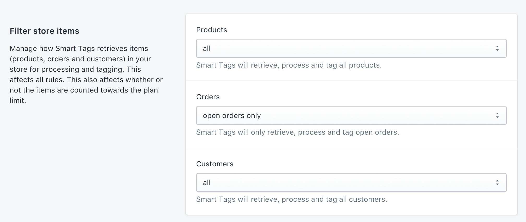 Filter which items to retrieve, process and tag